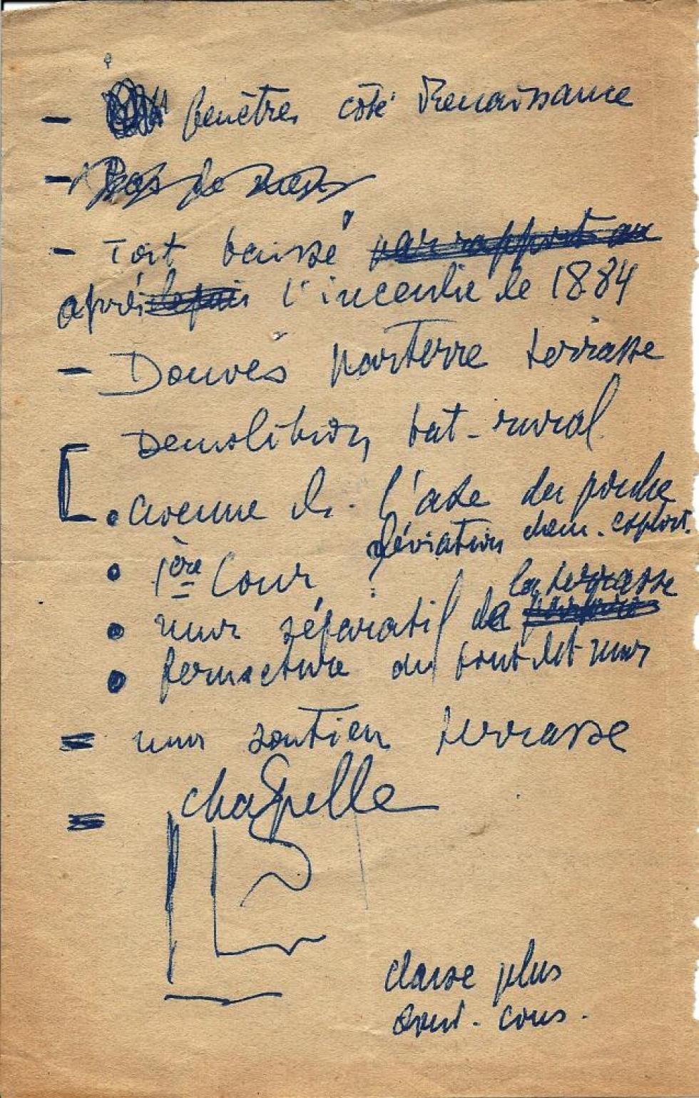 Brouillon d'Henti LEVEQUE, recto de la 2ème page.