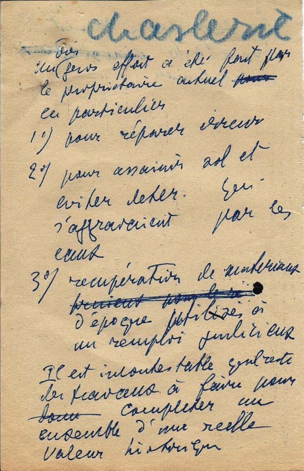 Brouillon d'Henti LEVEQUE, recto de la 1ère page.