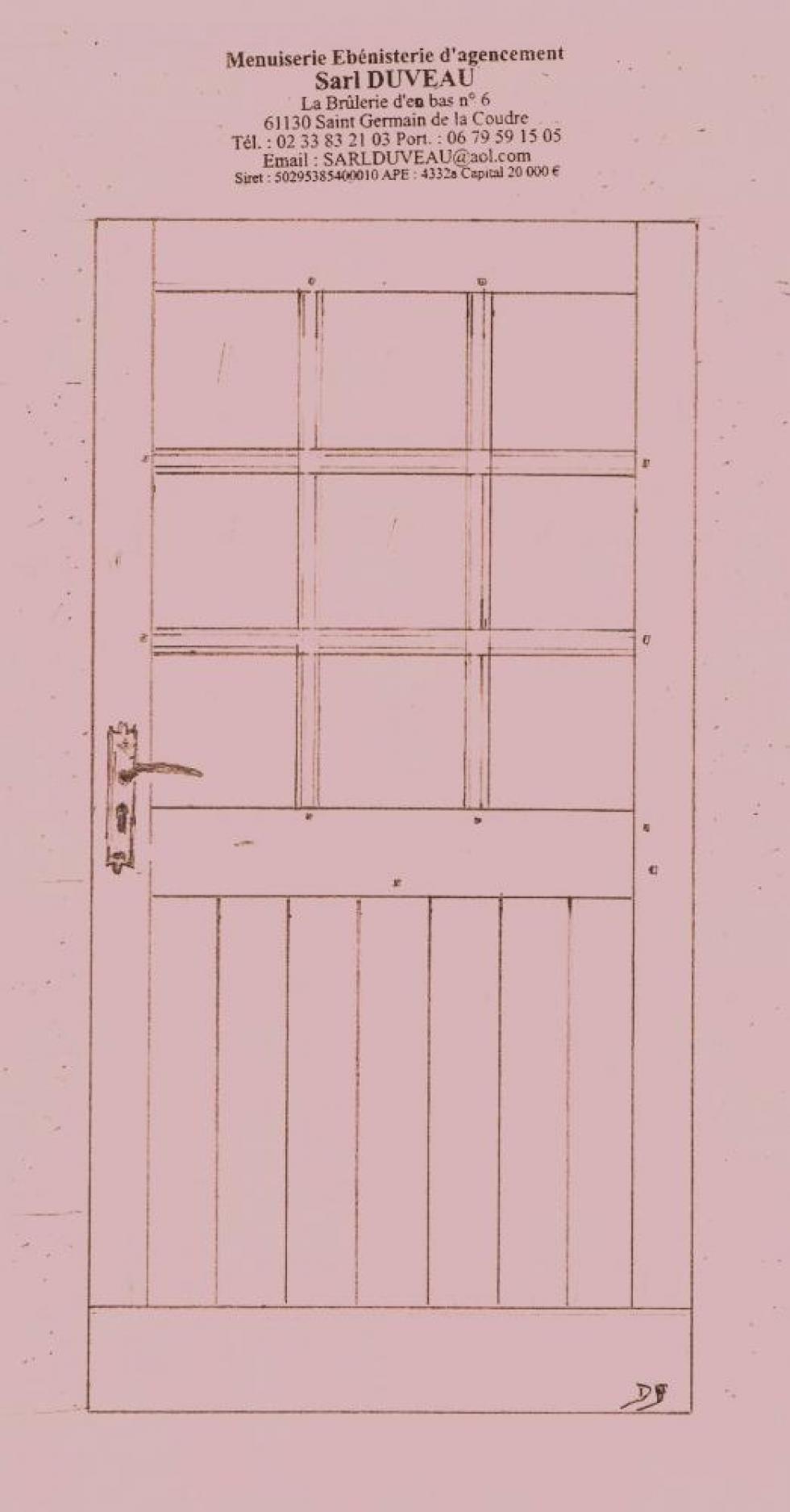 Le 2ème projet de M. DUVEAU pour la porte sur cour du bâtiment Nord.