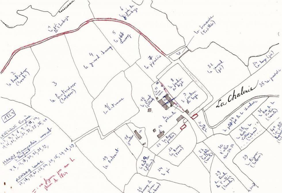 Les noms, juste avant la Révolution, des parcelles les plus proches de la Chaslerie.