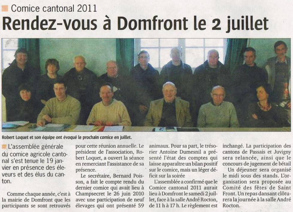 """Extrait du numéro du 27 janvier 2011 du """"Publicateur libre""""."""