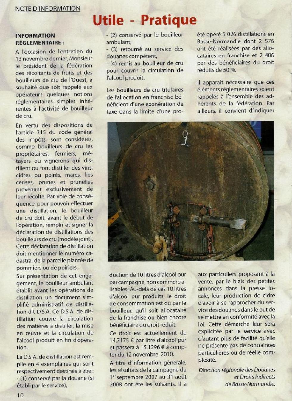 """La page 10 du numéro de 2011 de """"L'avenir du bouilleur""""."""