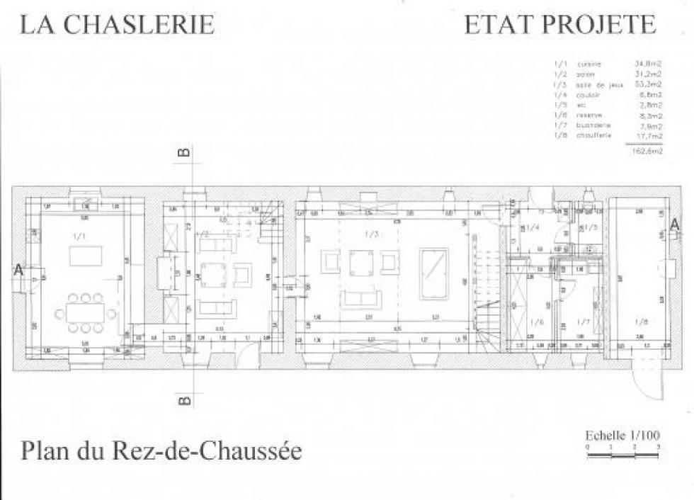 Plan du rez-de-chaussée de la ferme après travaux prévus au permis.