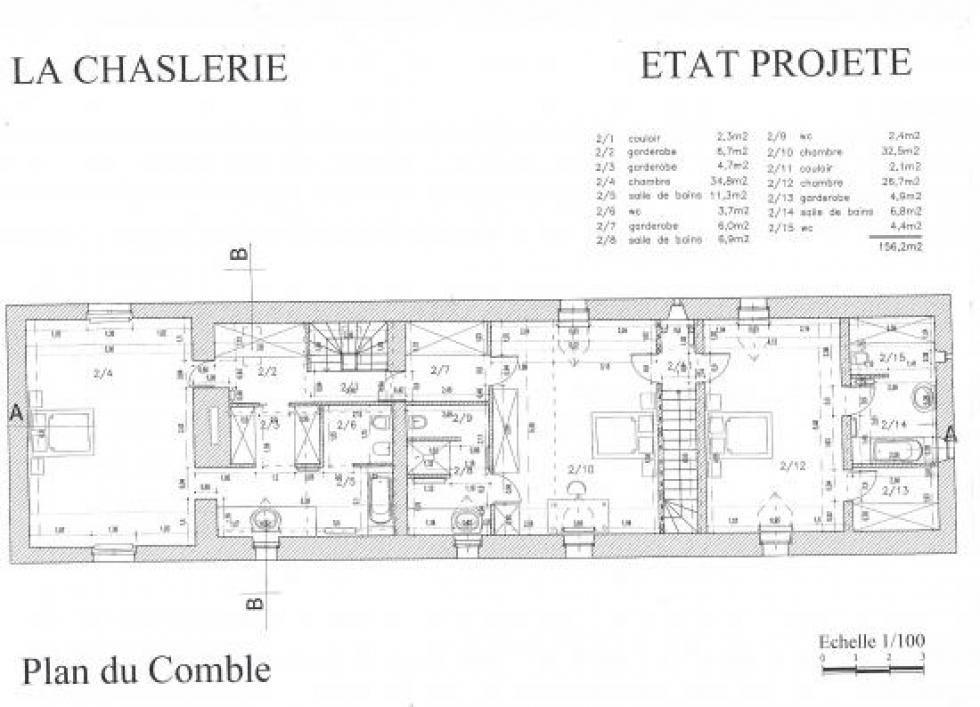 Plan de l'étage de la ferme après les travaux prévus au permis.
