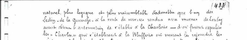 Photocopie du passage du manuscrit de Louis GRAVELLE correspondant à la page 5 de l'exemplaire d'Henri LEVEQUE.