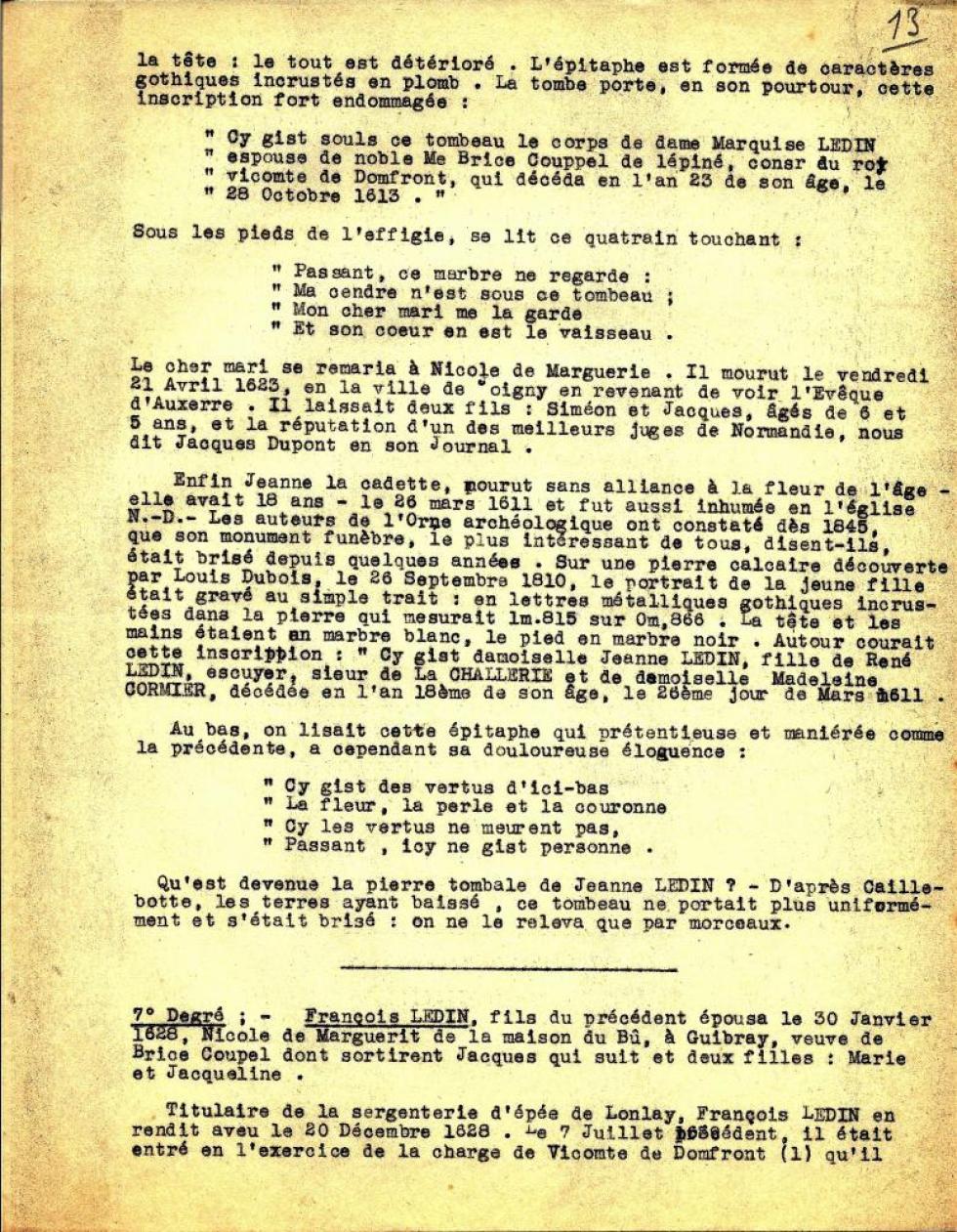 Extrait de l'exemplaire de l'ouvrage de Louis GRAVELLE qu'eut en mains Henri LEVEQUE.