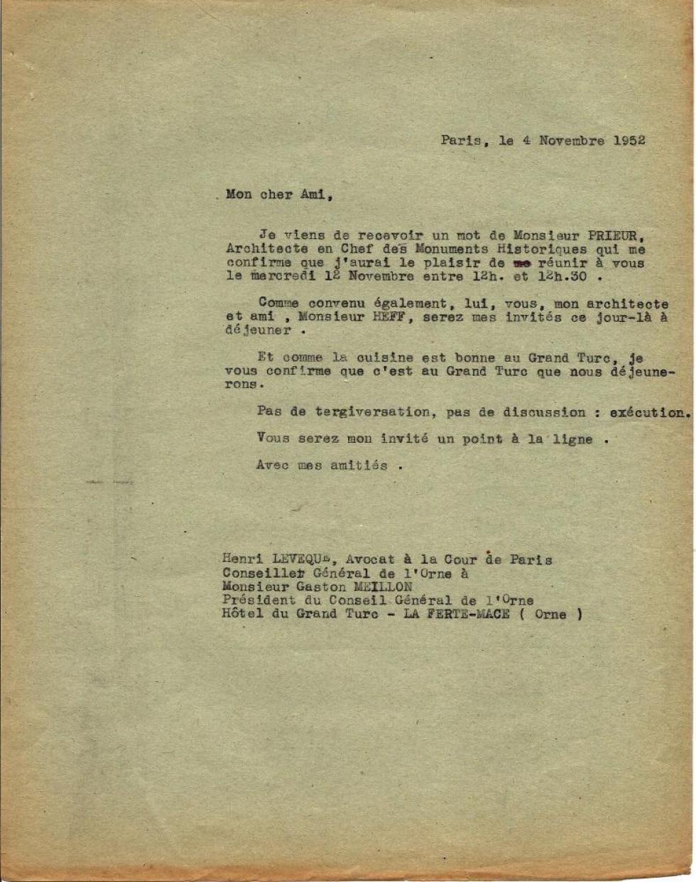 Lettre du 4 novembre 1952 d'Henri LEVEQUE au président du conseil général de l'époque.