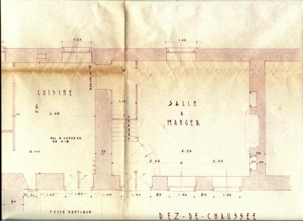 Les plans, approuvés par Lucien PRIEUR, A.C.M.H., le 14 octobre 1952 (le rez-de-chaussée).
