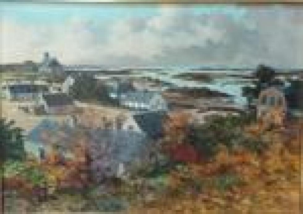 """""""K21, la grande île à Chausey"""" de Louis Henry LEMIRRE (1929-2000)."""