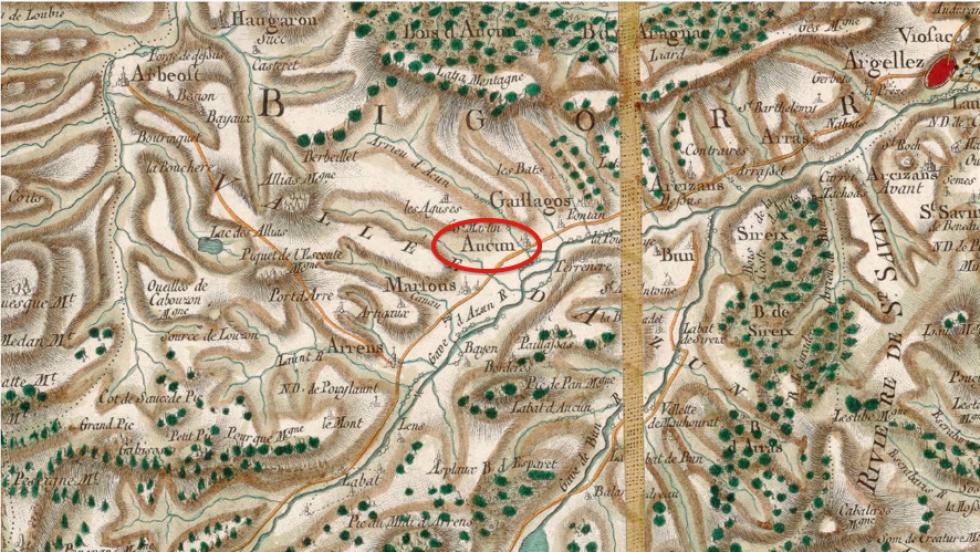 Environs d'Aucun - Source Gallica, Extrait de la carte générale de la France n°108 établie sous la direction de C. F. Cassini de Thury.