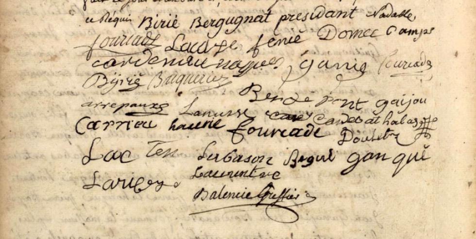 Signatures au bas de l'acte de nomination de la municipalité d'Aucun - Source AD Hautes-Pyrénées, Registre des actes communaux 1683-1861 vue 55/292.