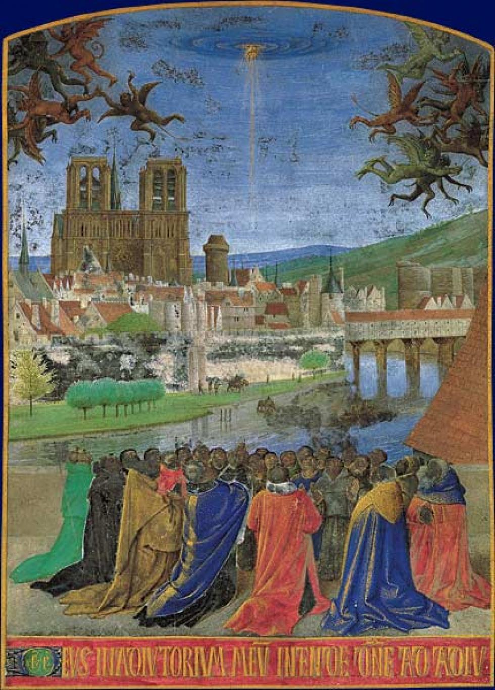 Notre-Dame de Paris dans une enluminure de Jean Fouquet - XVe siècle - La Main de Dieu protégeant les fidèles