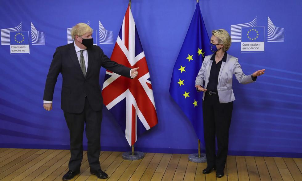 Boris Johnson with European commission president Ursula von der Leyen in Brussels on 9 December. Photograph: Aaron Chown/AP