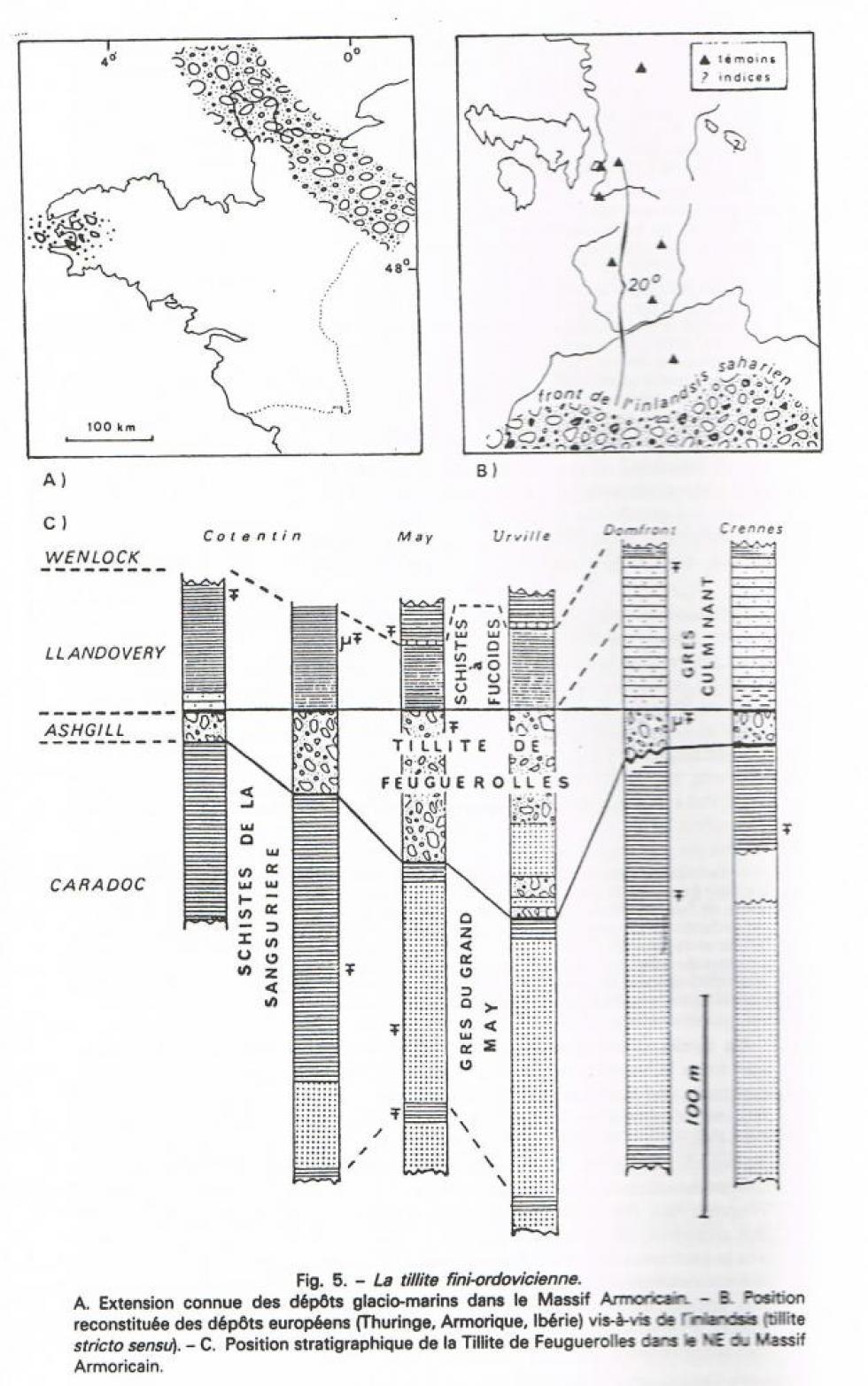 """1er extrait de la page 16 du """"guide géologique Normandie Maine""""."""