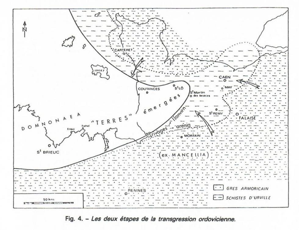 """2ème extrait de la page 15 du """"guide géologique Normandie Maine""""."""