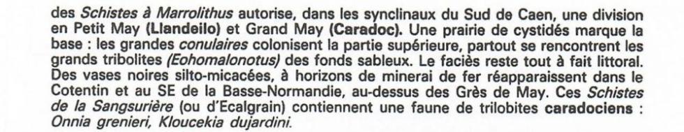 """1er extrait de la page 15 du """"guide géologique Normandie Maine""""."""