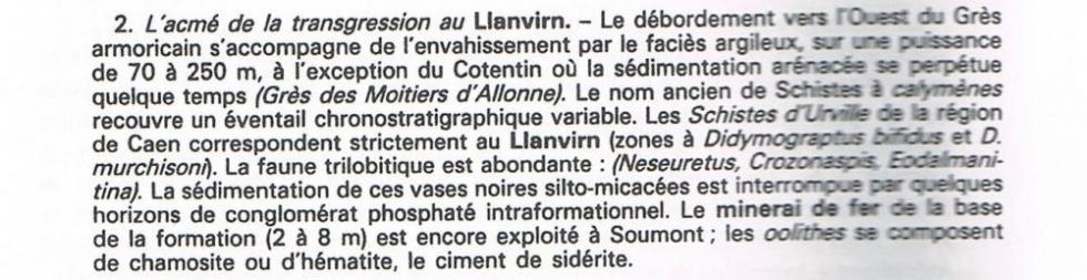 """6ème extrait de la page 14 du """"guide géologique Normandie Maine""""."""