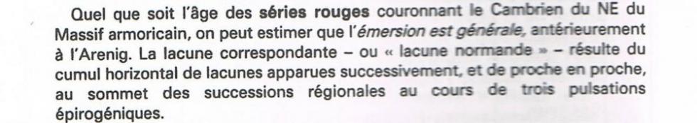 """3ème extrait de la page 14 du """"guide géologique régional Normandie Maine""""."""