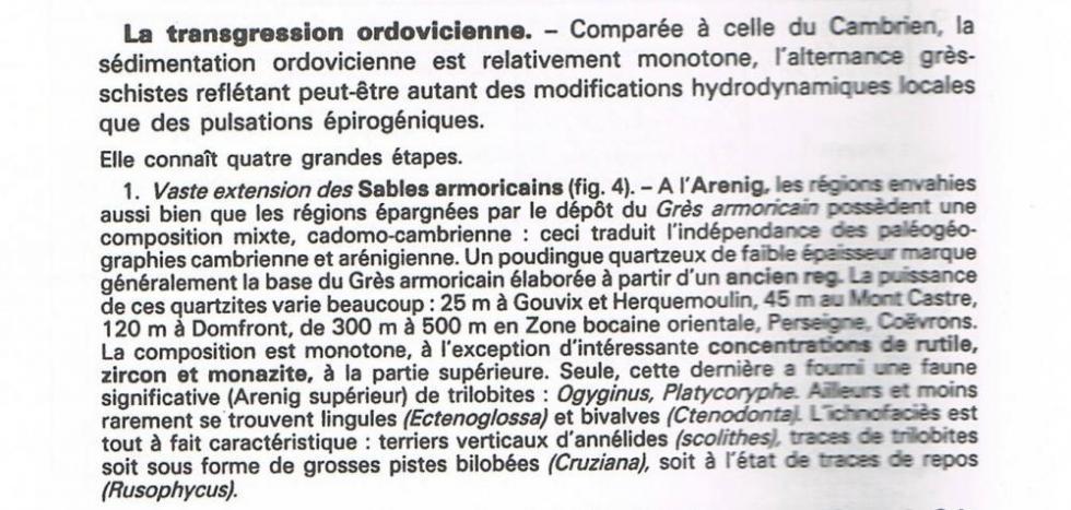 """5ème extrait de la page 14 du """"guide géologique Normandie Maine""""."""