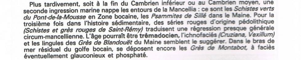 """2ème extrait de la page 14 du """"guide géologique régional Normandie Maine""""."""