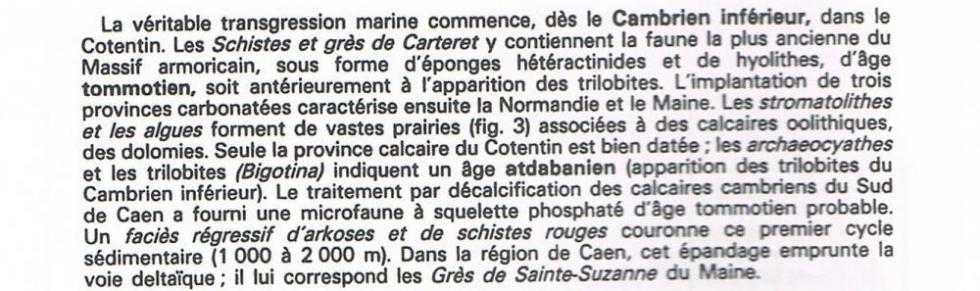 """1er extrait de la page 14 du """"guide géologique régional Normandie Maine""""."""
