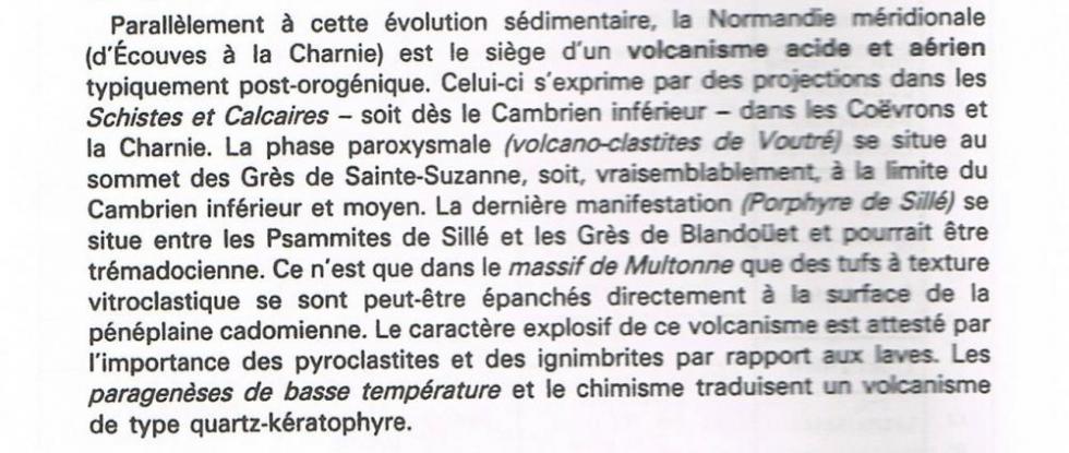 """4ème extrait de la page 14 du """"guide géologique régional Normandie Maine""""."""