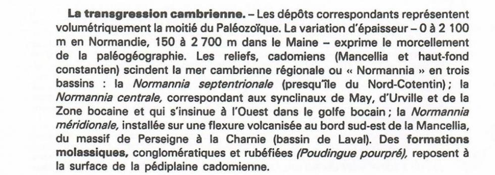 """2ème et dernier extrait de la page 13 du """"guide géologique Normandie Maine""""."""