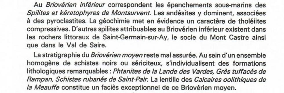 """2ème extrait de la page 11 du """"guide géologique Normandie-Maine""""."""