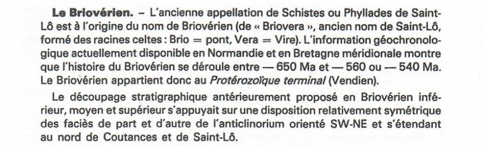 """Page 11 du """"guide géologique Normandie-Maine3, 1er extrait."""