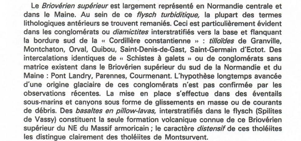 """3ème extrait de la page 11 du """"guide géologique Normandie-Maine""""."""
