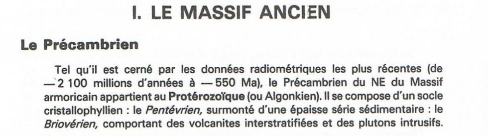"""""""Guide géologique Normandie-Maine par Francis Doré et autres, extrait de la page 10."""