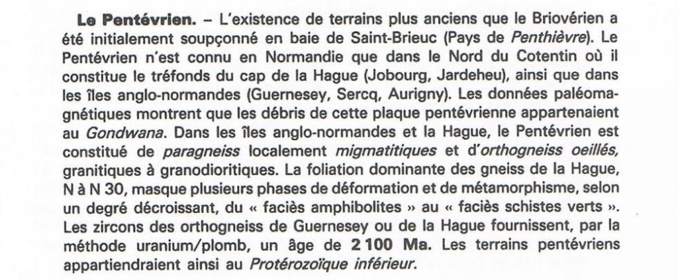 """Extrait de la page 10 du """"guide géologique Normandie-Maine""""."""