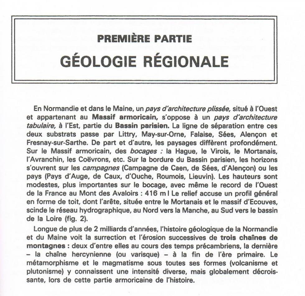 """Page 9 du """"guide géologique Normandie-Maine"""" de Francis Doré et autres."""
