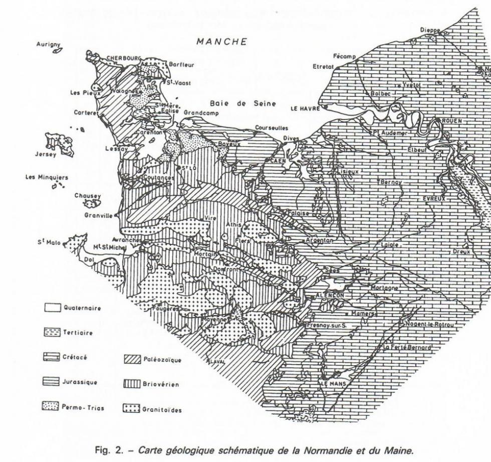 """Carte géologique schématique de la Normandie et du Maine, page 9 du """"guide géologique Normandie-Maine"""" de Francis Doré et autres."""