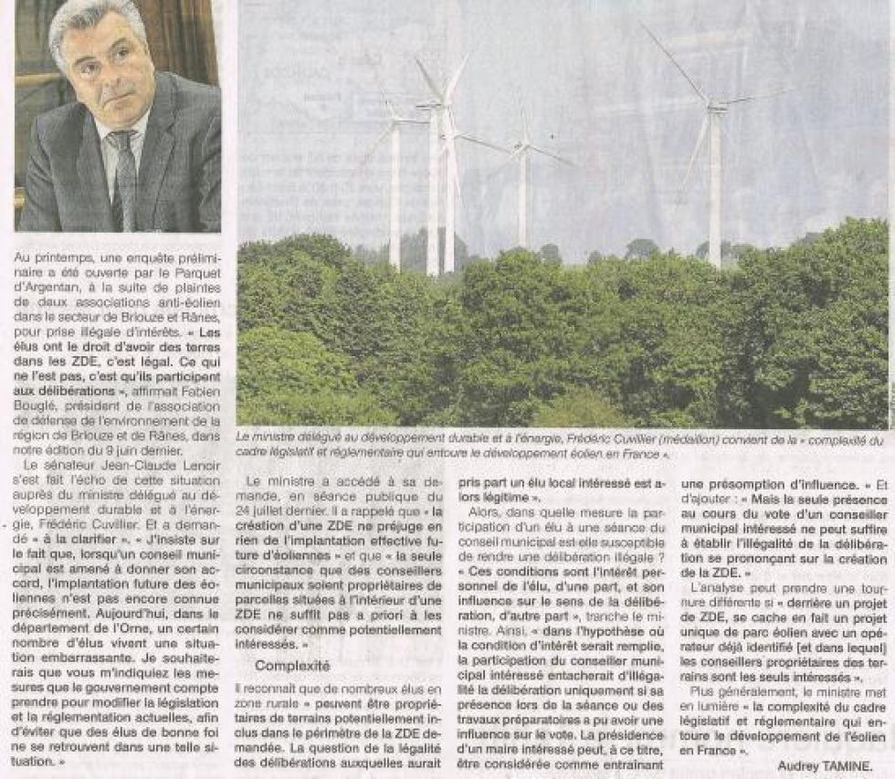 """Article paru dans """"Ouest-France"""" le 7 août 2012."""
