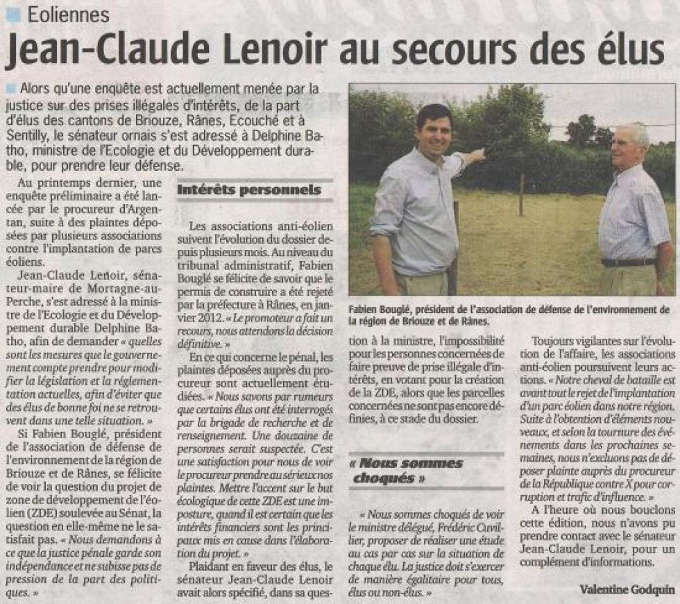 """Article paru le 16 août 2012 dans le """"Publicateur Libre""""."""