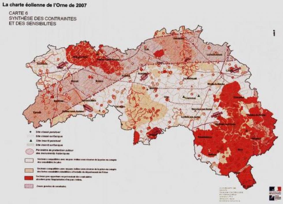 La carte des contraintes élaborée en 2007 pour l'Orne.
