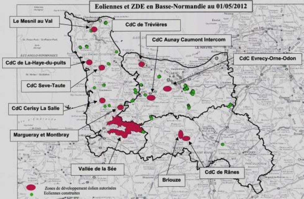Plan des ZDE de Basse-Normandie (source: le schéma régional éolien).