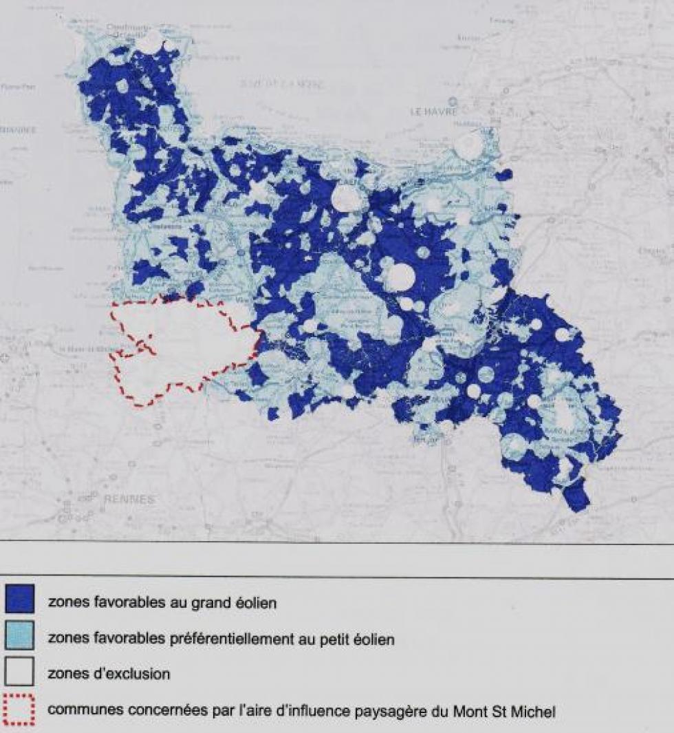 Le zonage auquel aboutit le schéma régional éolien de Basse-Normandie.