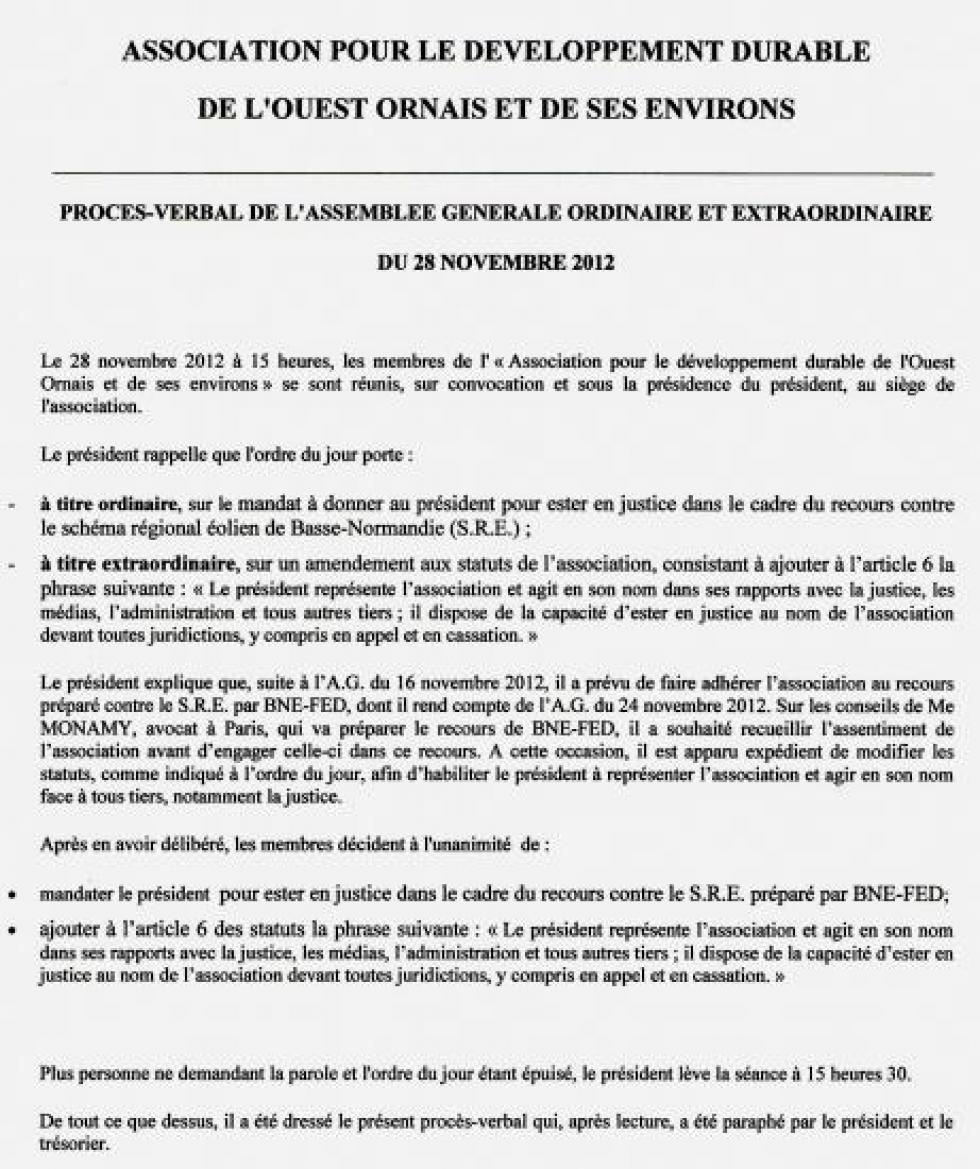 Compte rendu de l'assemblée générale du 28 novembre 2012.
