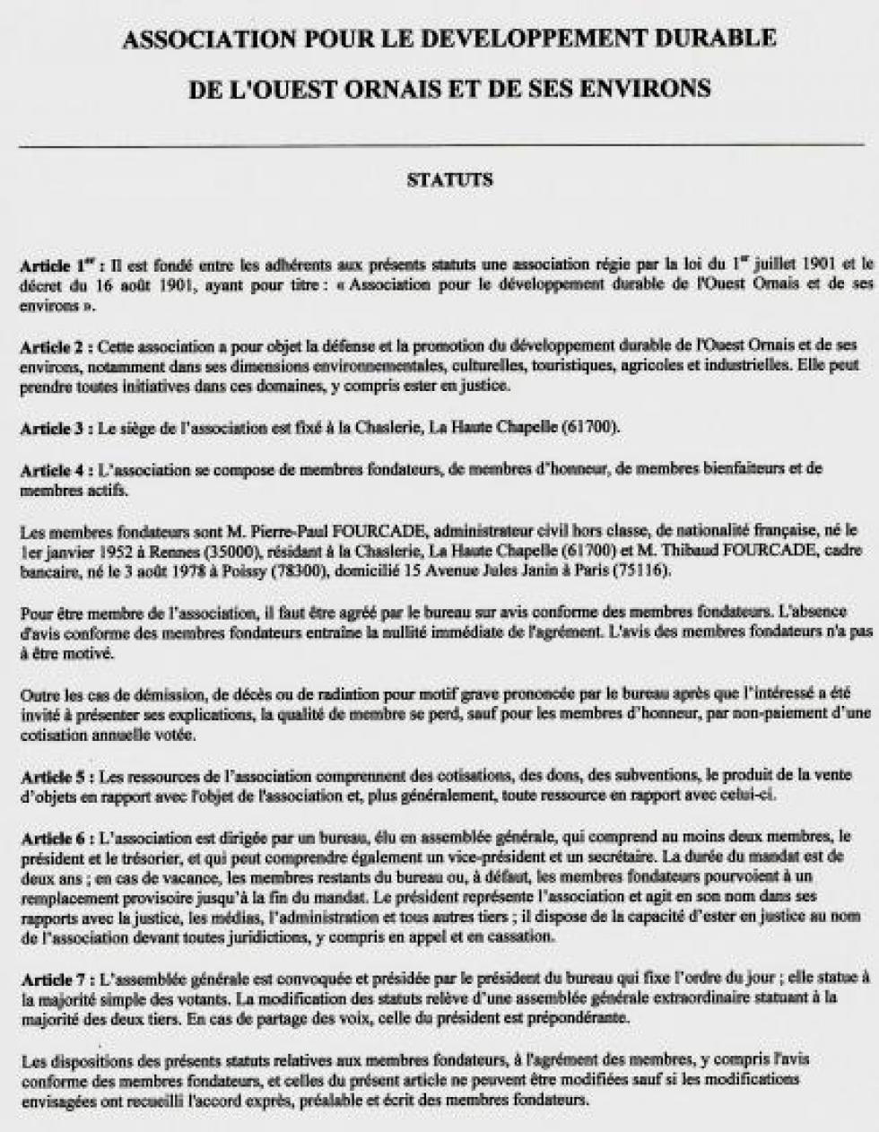 Statuts de l'association, tels que modifiés le 28 novembre 2012.