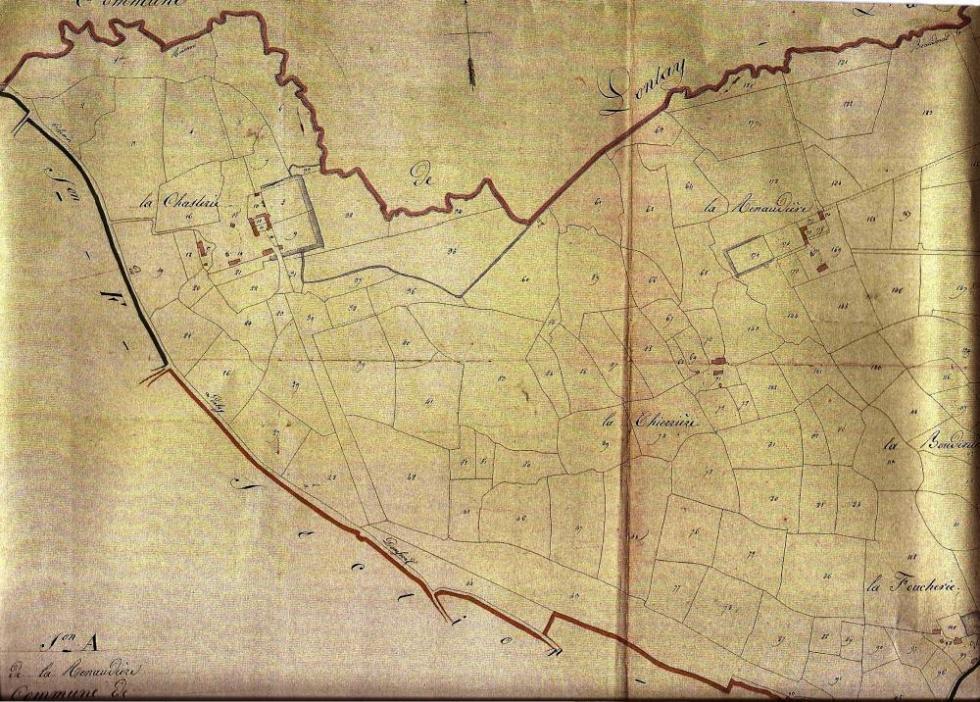 """Extrait du """"cadastre napoléonien"""" de 1824."""