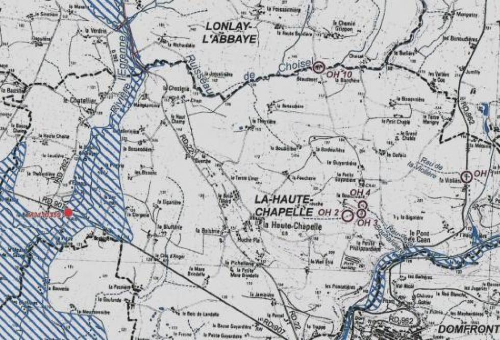 Les zones inondables aux abords immédiats de la Chaslerie.