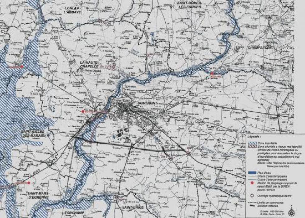 Les zones inondables du Domfrontais.