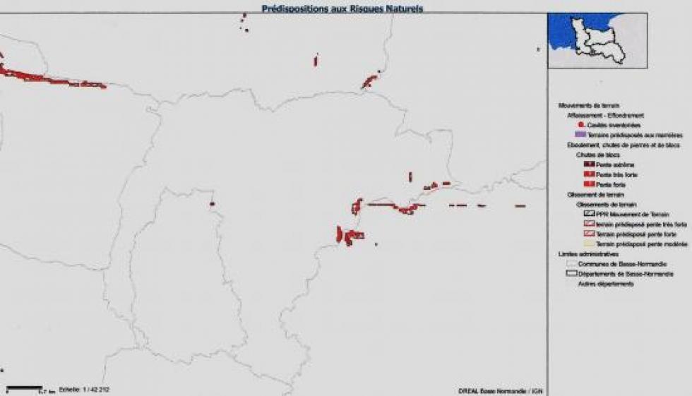 La carte des risques naturels aux abords de la Chaslerie.
