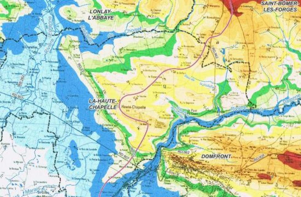 Topographie des abords immédiats de la Chaslerie.