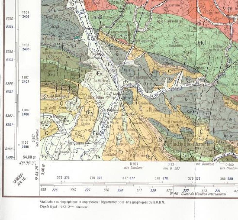extrait de la carte géologique de la France au 1/50 000.