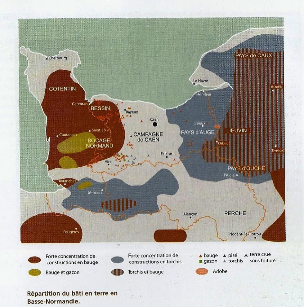 Répartition du bâti en terre en Basse-Normandie.