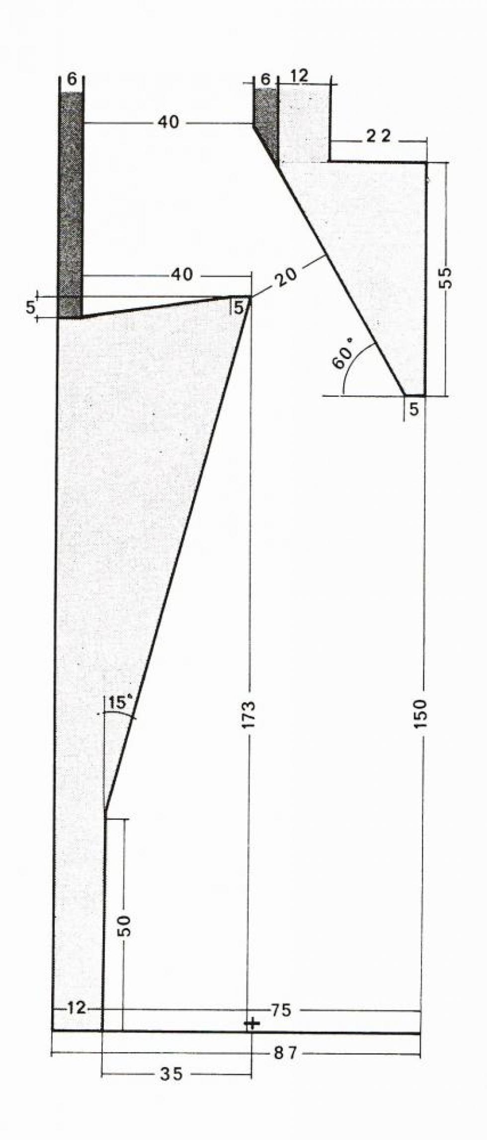 Coupe d'une cheminée dont le foyer a 1,50 m de haut.