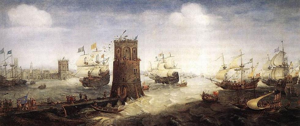 Cornelis Claesz van Wieringen: Navire brisant la chaîne de Damiette lors la cinquième croisade.